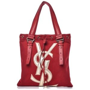 YSL Kahala Red Logo Canvas Leather Trimmed Tote
